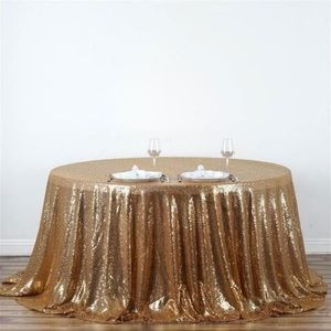 Gold SEQUIN Round Tablecloth